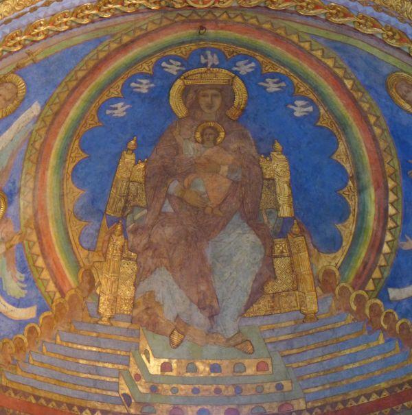Newerkkirche Goslar Der blaue Hintergrund zeigt, dass Maria im Himmel auf einen goldenen Thron sitzt. Foto: E.Bieger